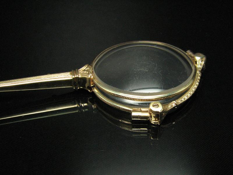 antike klappbare brille lorgnon gestell in 14kt gold ebay. Black Bedroom Furniture Sets. Home Design Ideas