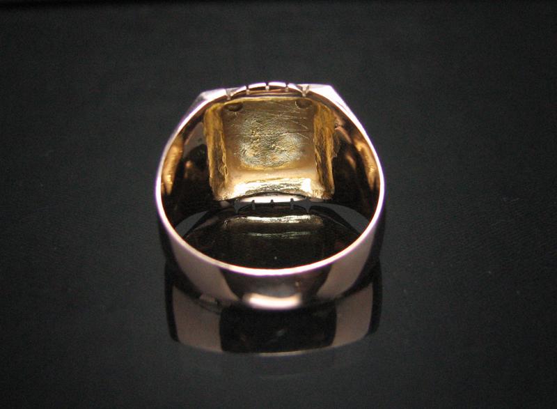 dekorativer 14kt gold herren ring anker und edelstein ebay. Black Bedroom Furniture Sets. Home Design Ideas