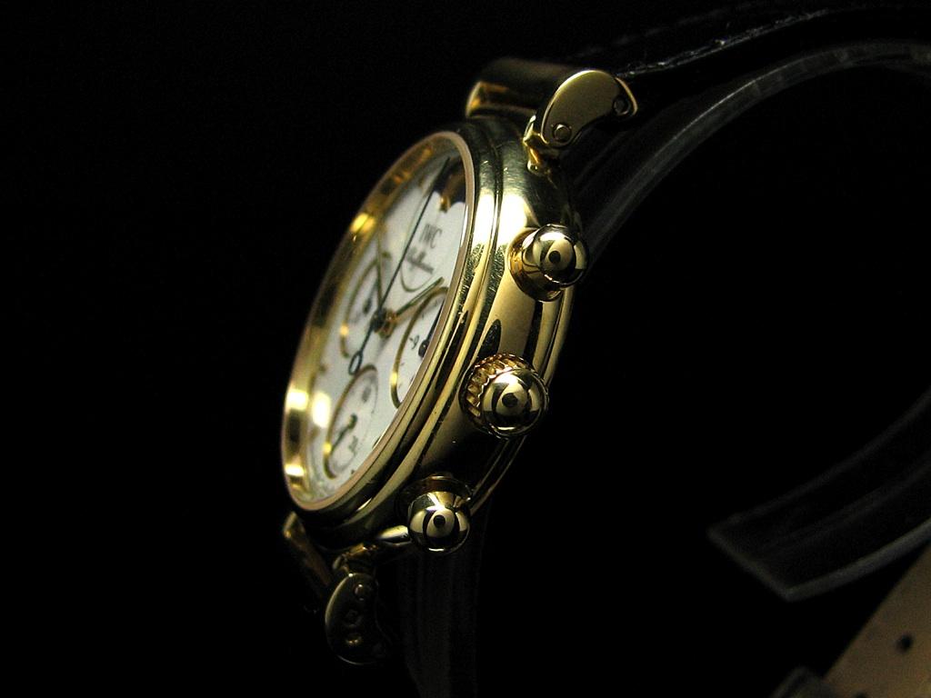 iwc da vinci 18kt gold chronograph mit datum mondphase ebay. Black Bedroom Furniture Sets. Home Design Ideas